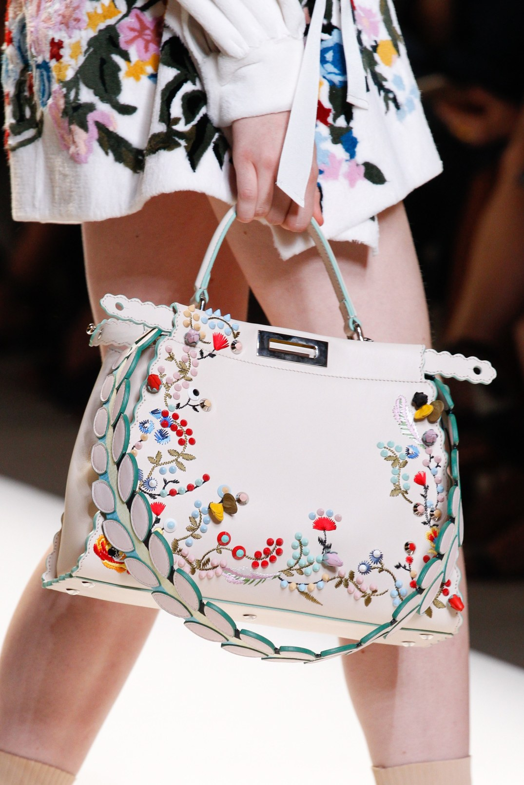 fendi white floral embroidered peekaboo bag